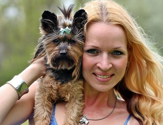 Woman and Yorkie